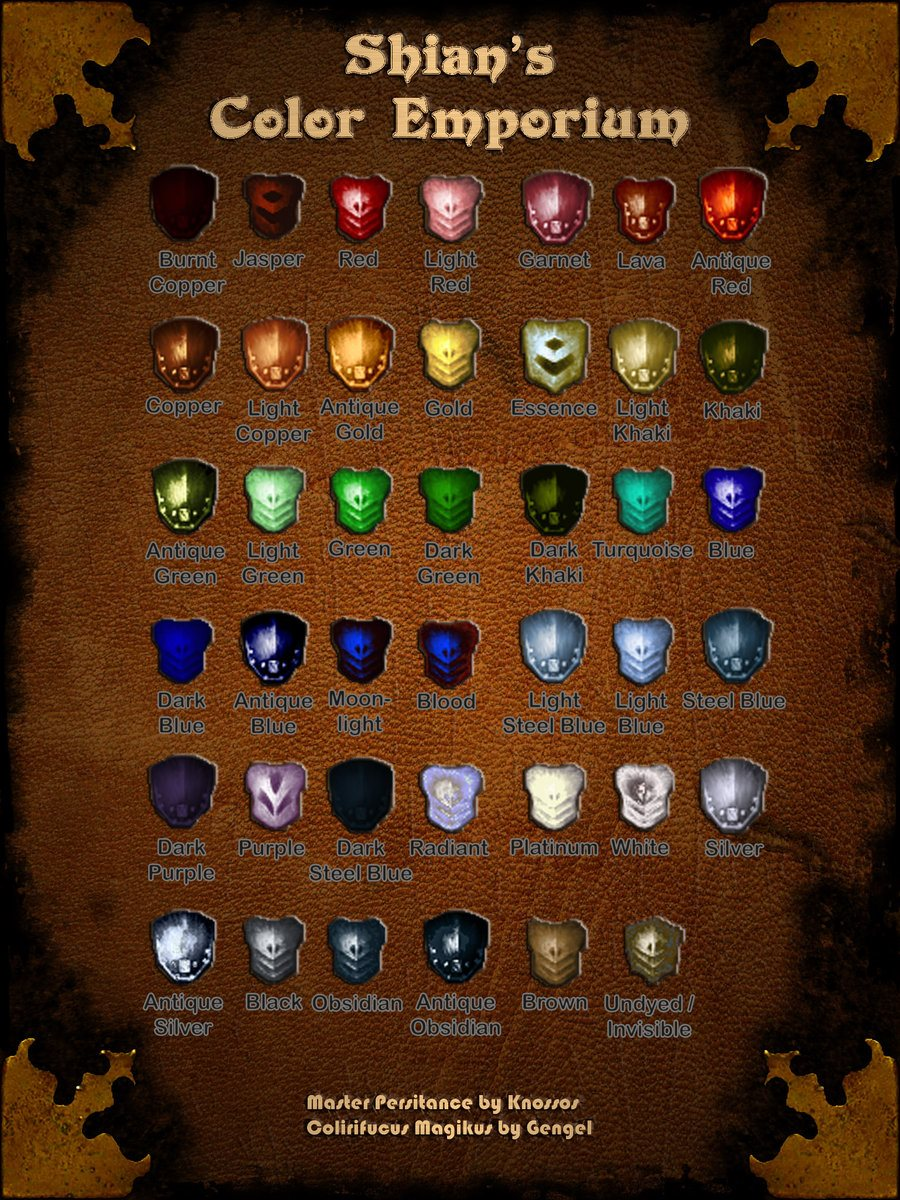Dye Kit Color Guide